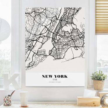 Glasbild - Stadtplan New York - Klassik - Hochformat 4:3