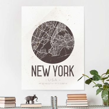 Glasbild - Stadtplan New York - Retro - Hochformat 4:3