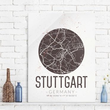 Glasbild - Stadtplan Stuttgart - Retro - Hochformat 4:3