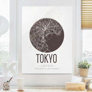 Glasbild - Stadtplan Tokyo - Retro - Hochformat 4:3