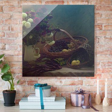 Glasbild - Stillleben mit Blumenvase - Quadrat 1:1