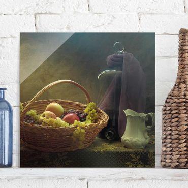 Glasbild - Stillleben mit Obstkorb - Quadrat 1:1