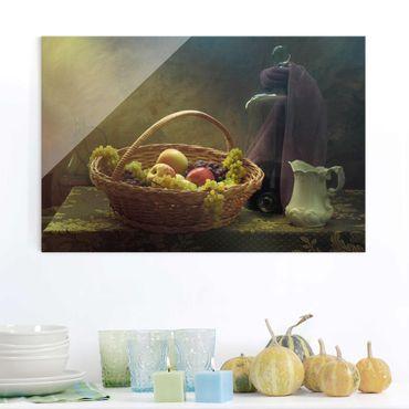 Glasbild - Stillleben mit Obstkorb - Quer 3:2