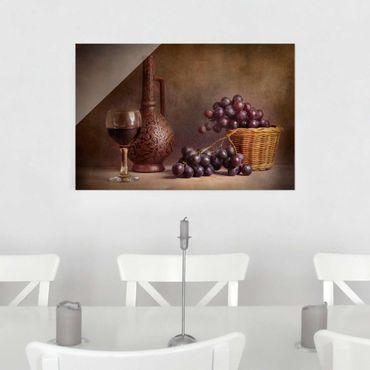 Glasbild - Stillleben mit Weintrauben - Quer 3:2