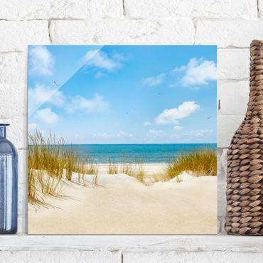 Glasbild - Strand an der Nordsee - Quadrat 1:1