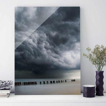 Glasbild - Sturmwolken über der Ostsee - Hochformat 4:3