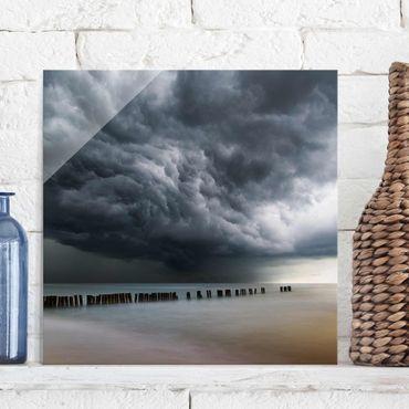 Glasbild - Sturmwolken über der Ostsee - Quadrat 1:1