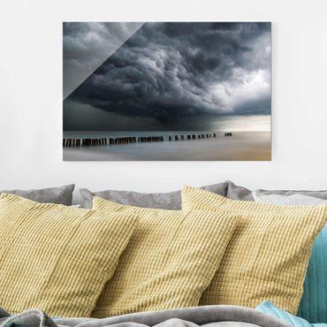 Glasbild - Sturmwolken über der Ostsee - Querformat 2:3