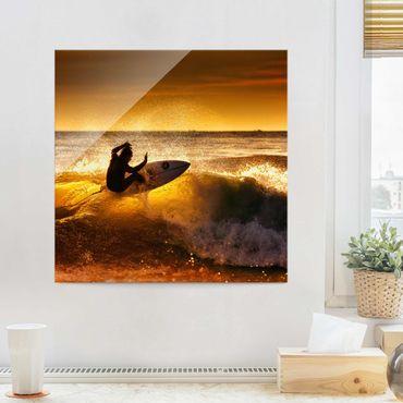 Glasbild - Sun, Fun and Surf - Quadrat 1:1