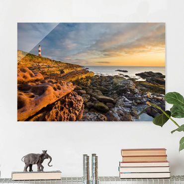 Glasbild Meerblick - Tarbat Ness Leuchtturm und Sonnenuntergang am Meer - Meerbild Quer 3:2