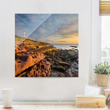 Glasbild - Tarbat Ness Leuchtturm und Sonnenuntergang am Meer - Quadrat 1:1