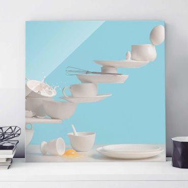 Glasbild - Teller Kunst - Quadrat 1:1