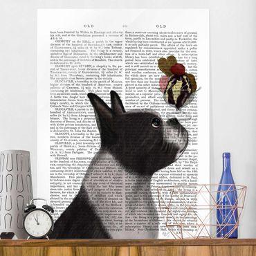 Glasbild - Tierlektüre - Terrier mit Eis - Hochformat 4:3
