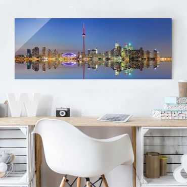 Glasbild - Toronto City Skyline vor Lake Ontario - Panorama Quer