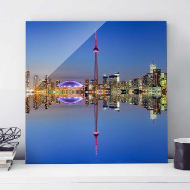 Glasbild - Toronto City Skyline vor Lake Ontario - Quadrat 1:1