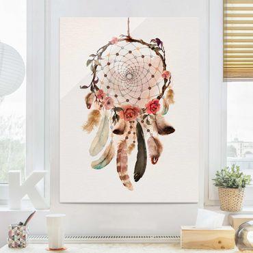 Glasbild - Traumfänger mit Perlen - Hochformat 4:3
