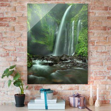 Glasbild - Tropischer Wasserfall - Hoch 3:4