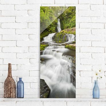 Glasbild - Upper McLean Falls in Neuseeland - Panel
