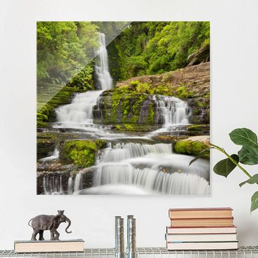 Glasbild - Upper McLean Falls in Neuseeland - Quadrat 1:1