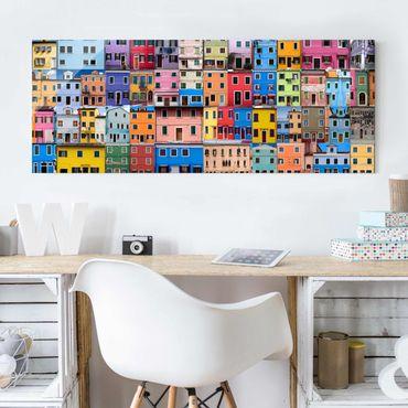 Glasbild - Venezianische Häuser - Panorama Quer