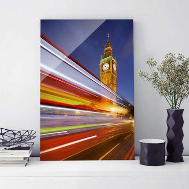 Glasbild - Verkehr In London am Big Ben bei Nacht - Hoch 2:3