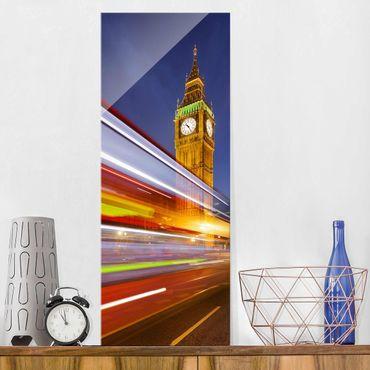 Glasbild - Verkehr In London am Big Ben bei Nacht - Panorama Hoch
