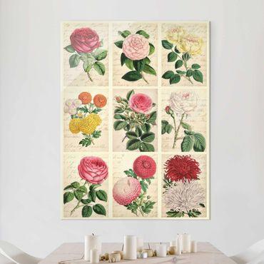Glasbild - Vintage Blumen Collage - Hochformat 3:4