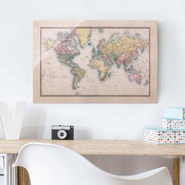 Glasbild - Vintage Weltkarte um 1850 - Quer 3:2