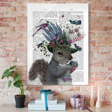 Glasbild - Vogelfänger - Eichhörnchen mit Eicheln - Hochformat 4:3