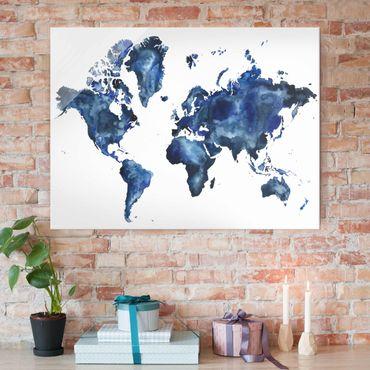 Glasbild - Wasser-Weltkarte hell - Querformat 3:4