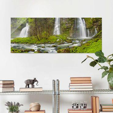 Glasbild - Wasserfälle Cascade de Flumen - Panorama