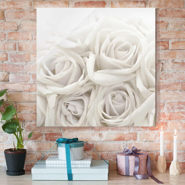 Glasbild - Wedding Roses - Quadrat 1:1 - Blumenbild Glas
