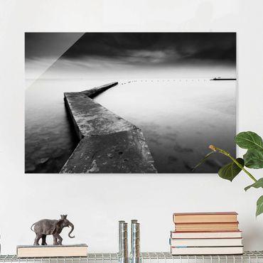 Glasbild - Weiter Pier schwarz-weiß - Querformat 2:3