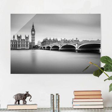 Glasbild - Westminster Brücke und Big Ben - Querformat 2:3