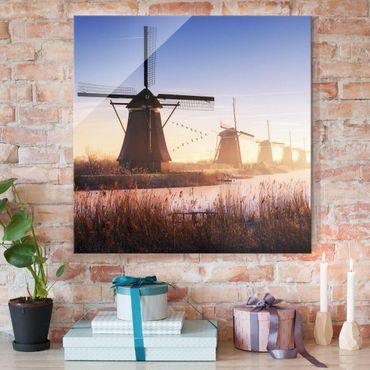 Glasbild - Windmühlen von Kinderdijk - Quadrat 1:1