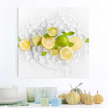 Glasbild - Zitrusfrüchte auf Eiswürfel - Quadrat 1:1