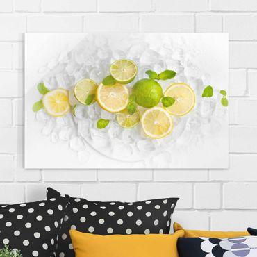 Glasbild - Zitrusfrüchte auf Eiswürfel - Quer 3:2