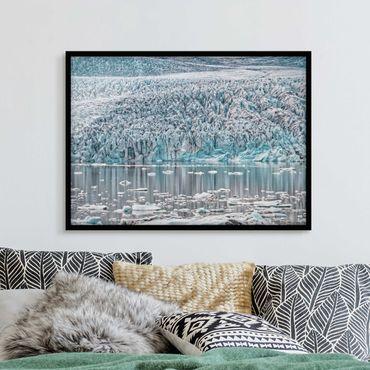 Bild mit Rahmen - Gletscher auf Island - Querformat