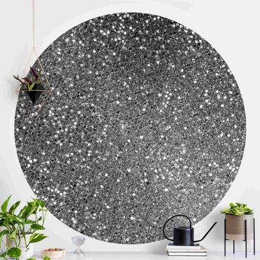 Runde Tapete selbstklebend - Glitzer Konfetti in Schwarz-Weiß