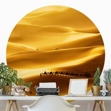 Runde Tapete selbstklebend - Golden Dunes