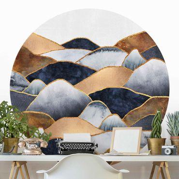 Runde Tapete selbstklebend - Goldene Berge Aquarell