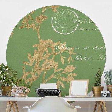 Runde Tapete selbstklebend - Goldene Blätter auf Lind I