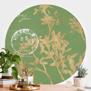 Runde Tapete selbstklebend - Goldene Blätter auf Lind II