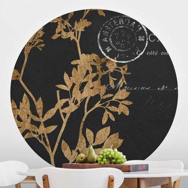 Runde Tapete selbstklebend - Goldene Blätter auf Mokka I