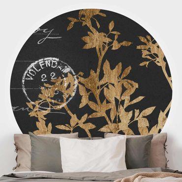 Runde Tapete selbstklebend - Goldene Blätter auf Mokka II