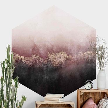 Hexagon Mustertapete selbstklebend - Goldene Dämmerung Rosa