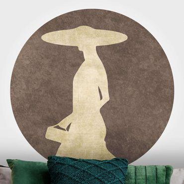Runde Tapete selbstklebend - Goldene Dame mit Hut