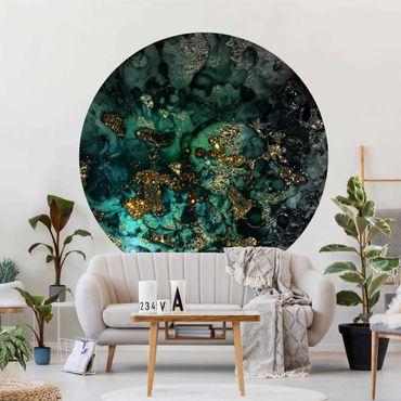 Runde Tapete selbstklebend - Goldene Meeres-Inseln Abstrakt