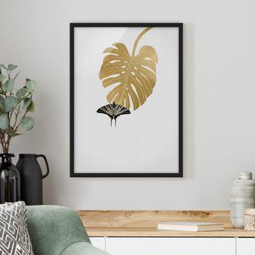 Bild mit Rahmen - Goldene Monstera mit Schmetterling - Hochformat