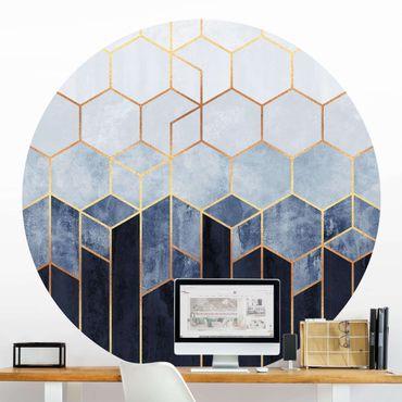 Runde Tapete selbstklebend - Goldene Sechsecke Blau Weiß
